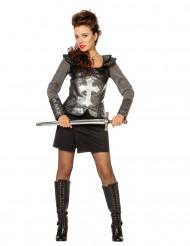 Disfarce cavaleira com armadura mulher