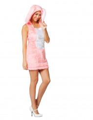 Disfarce coelho cor-de-rosa em pelúcia mulher