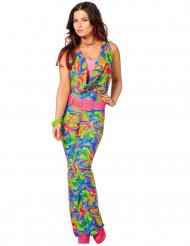 Disfarce disco colorido mulher