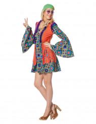 Disfarce hippie aos losangos com franjas mulher