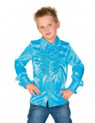 Camisa azul com folhos criança