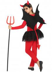 Disfarce demónio vermelho e preto menina Halloween