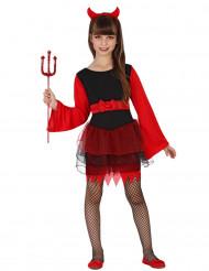 Disfarce demónio com tutu vermelho e preto menina Halloween