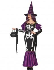 Disfarce bruxa lilás esqueleto mulher Halloween