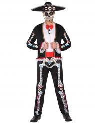 Disfarce mexicano colorido homem Dia de los muertos