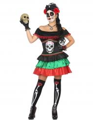Disfarce mexicana colorida mulher Dia de los muertos