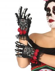 Luvas curtos esqueleto mexicano mulher Dia de los muertos
