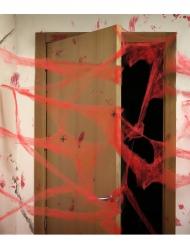 Decoração teia de aranha vermelha com aranhas Halloween