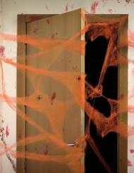 Teia de aranha cor de laranja com aranhas Halloween
