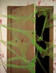 Teia de aranha verde com aranhas Halloween