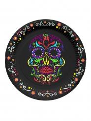 6 Pequenos pratos de cartão esqueleto colorido Dia de los muertos
