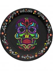 6 Pratos de cartão esqueleto colorido Dia de los muertos