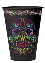 6 Copos de cartão esqueleto colorido Dia de los muertos