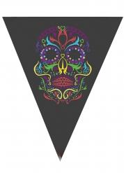 Grinalda de bandeirolas esqueleto colorido Halloween