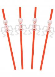 5 Palhinhas cor de laranja com esqueleto Halloween