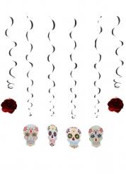 6 decorações suspensas esqueleto colorido Dia dos Mortos 120 cm