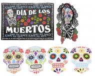 Kit de 7 decorações Esqueleto colorido Dia de los muertos