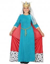 Disfarce rainha medieval azul menina