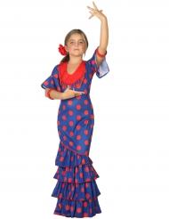 Disfarce dançarina de flamenco azul e vermelho menina