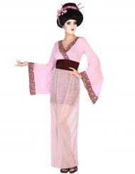 Disfarce geisha cor-de-rosa mulher