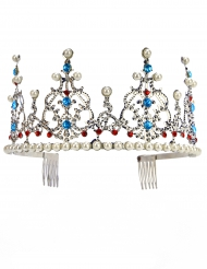 Diadema de princesa metálico prateado com pérolas adulto luxo.