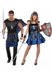 Disfarce de casal cavaleiros azuis adulto
