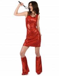 Disfarce Disco vermelho com lantejoulas mulher
