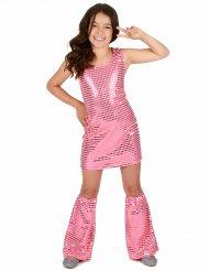 Disfarce Disco cor-de-rosa com lantejoulas menina
