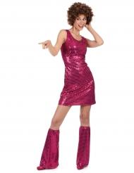 Disfarce Disco cor-de-rosa com lantejoulas mulher
