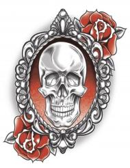 Tatuagem efémera esqueleto e rosas adulto