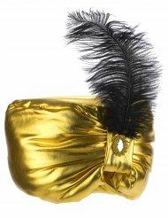 Turbante sultão dourado com pena - adulto