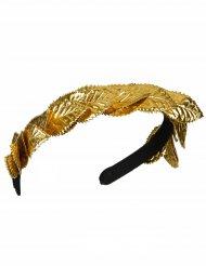 Tiara coroa de folha de loro dourada - adulto