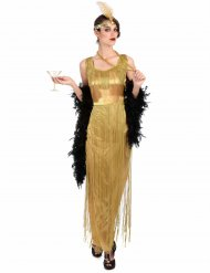 Disfarce Charleston dourado com franjas mulher