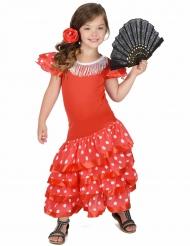 Disfarce dançarina de Flamenco vermlho as bolas brancas menina
