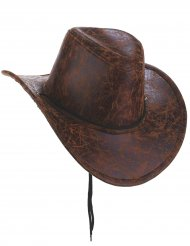 Chapéu de cowboy marron couro falso - adulto