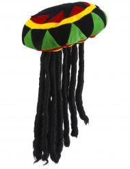 Boné reggae aveludado com tranças - adulto