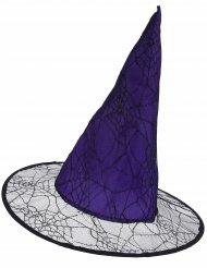 Chapéu roxo feiticeira com renda aranha - adulto