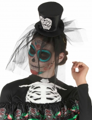 Tiara mini chapéu preto dia dos mortos com renda - adulto