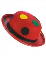 Chapéu coco vermelho palhaço às bolas adulto