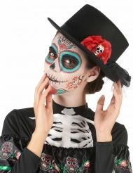 Chapéu forma alta preto caveira flor vermelha Dia dos mortos - adulto