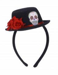 Tiara mini chapéu preto flores vermelhas dia dos mortos - adulto