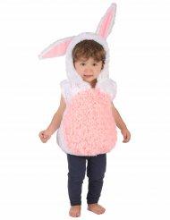 Disfarce coelho branco e cor-de-rosa criança