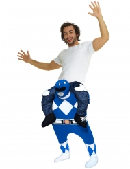 Disfarce homem as costas do Power Rangers™ azul adulto Morphsuits™