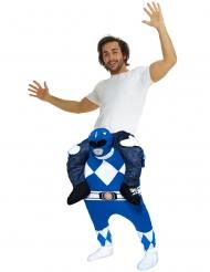 Disfarce homem as costas do Power Rangers™ azul adulto Morphsuits™