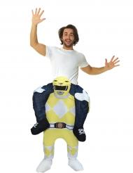 Disfarce homem as costas do Power Rangers™ amarelo adulto Morphsuits™