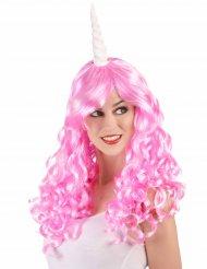 Peruca unicórnio cor-de-rosa mulher