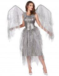 Disfarce anjo barroco prateado mulher
