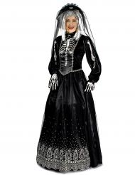Disfarce noiva preta mulher Halloween