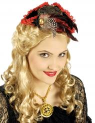 Mini chapéu pirata vermelho e preto luxo - mulher