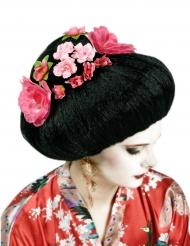 peruca chinesa preta com flores adulto